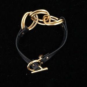 Gorjana black leather double link bracelet